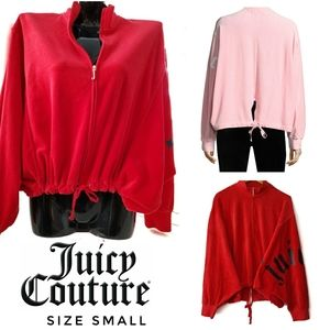 JUICY COUTURE Red Velour Batwing Logo Sweatshirt
